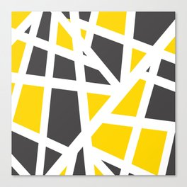 Abstract Interstate  Roadways Gray & Yellow Color Canvas Print