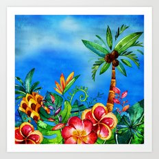 Exotic Colorful Flower Jungle - Aloha on #Society6 Art Print