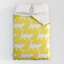 Minimal Cat Pattern Yellow Modern Comforters