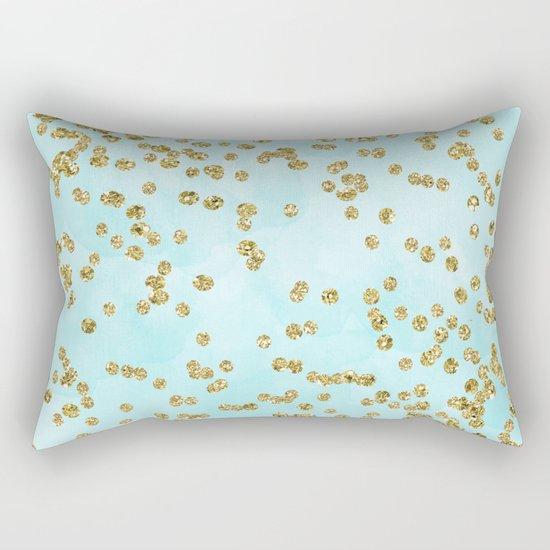 Sparkling gold glitter confetti on aqua ocean blue watercolor background-Luxury pattern on #Society6 Rectangular Pillow