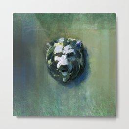 Lion Head Green Marble Metal Print