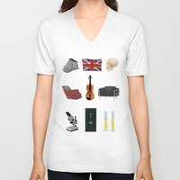 221b V-neck T-shirts featuring 221B Baker Street by CHOCOMINT GEEK