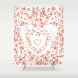 Modern coral pink watercolor valentine's hearts floral Shower Curtain