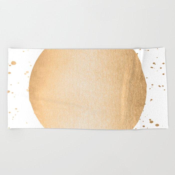 Sun Paint Spatter in Orange Sherbet Shimmer Beach Towel