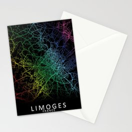 Limoges, France, City, Map, Rainbow, Map, Art, Print Stationery Cards