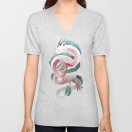 Spirited away - Haku Dragon illustration - Miyazaki, Studio Ghibli Unisex V-Neck