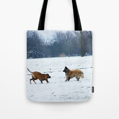 Lets play - Dogs in the snow Tote Bag