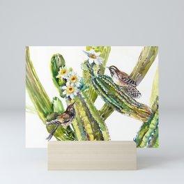 Arizona State Bird and Flower, Saguaro Cactus and Wren Mini Art Print