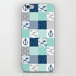 Nautical anchors sharks whales quilt cheater quilt nursery pattern art iPhone Skin
