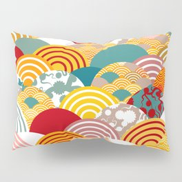 Nature background with japanese sakura flower, orange red pink Cherry, wave circle pattern Pillow Sham