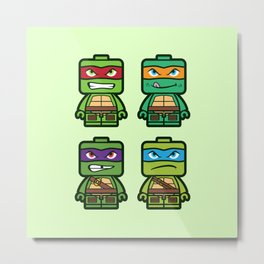 Chibi Ninja Turtles Metal Print
