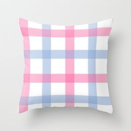 Pink and Blue Gingham Throw Pillow