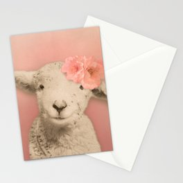 Flower Sheep Girl Portrait, Dusty Flamingo Pink Background Stationery Cards
