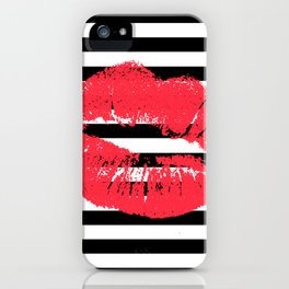 Stripes and Coral Kiss iPhone Case