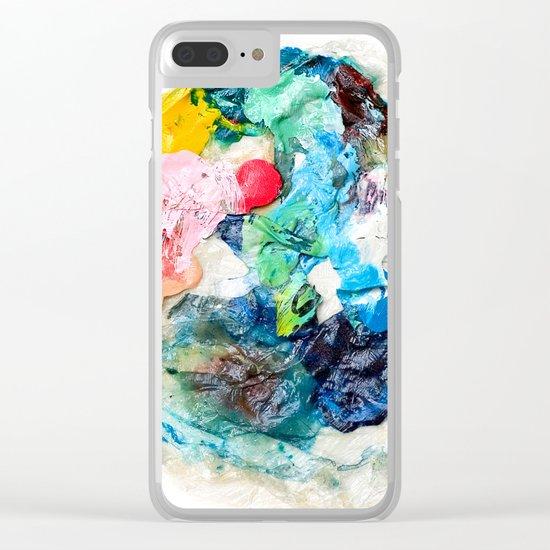 Rainbow Earth Paint Moon Love Clear iPhone Case