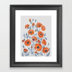 Poppies botanical art Framed Art Print