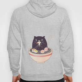 Bowl of ramen and black cat Hoody