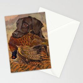 Vintage Chocolate Lab Hunting Stationery Cards