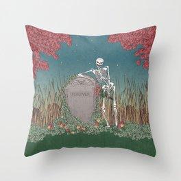 Skeleton Leaning on Grave Throw Pillow