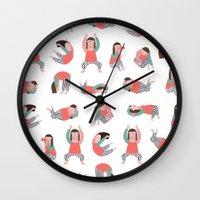 yoga Wall Clocks featuring Yoga by Anna Katharina Jansen |Illustration