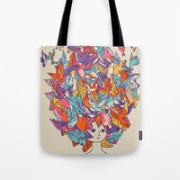 birdy Tote Bags featuring Birdy by Julia Sonmi Heglund