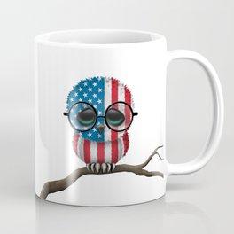 Baby Owl with Glasses and American Flag Coffee Mug