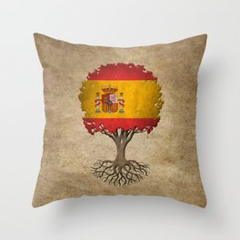 Vintage Tree of Life with Flag of Spain Throw Pillow