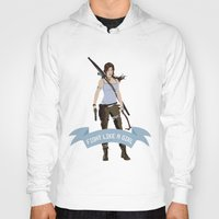 lara croft Hoodies featuring Fight Like a Girl: Lara Croft by Dorothy Leigh