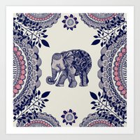 elephant Art Prints featuring Elephant Pink by rskinner1122