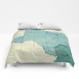 Texas State Map Blue Vintage Comforters