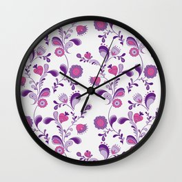 Flowers from the Seventies Wall Clock