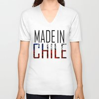 chile V-neck T-shirts featuring Made In Chile by VirgoSpice