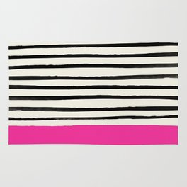 Bright Rose Pink x Stripes Rug