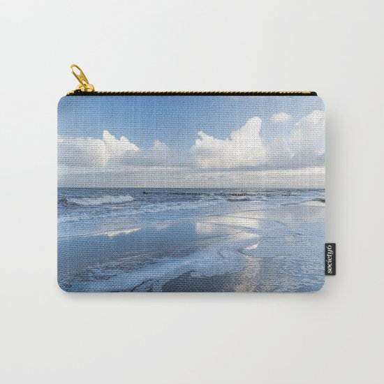 Cold day at the beach - Ocean blue on #Society6 Carry-All Pouch