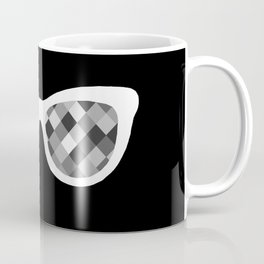 Diamond Eyes White on Black Coffee Mug