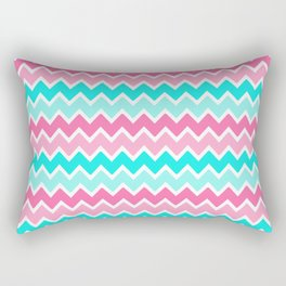 Turquoise Aqua Blue and Hot Pink Ombre Chevron Rectangular Pillow