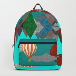 Hot Air Balloons Over Fabric Mountains Backpack