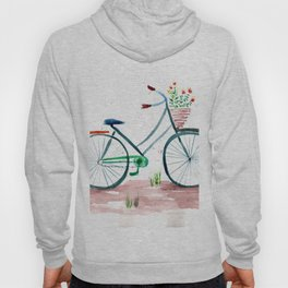 watercolor vintage bike, floral bicycle, summer bike ride Hoody