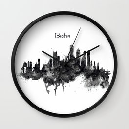 Boston Skyline Black and White Wall Clock