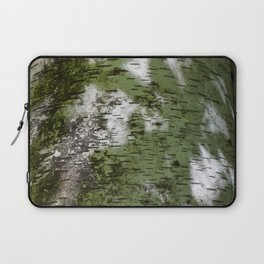 Birch Bark Pattern Green and White Wood Pattern Bring the Outdoors In Laptop Sleeve