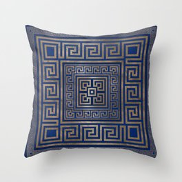 Greek Key Ornament - Greek Meander -gold on blue Throw Pillow