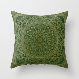 Mandala Royal - Green and Gold Throw Pillow