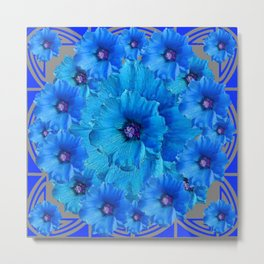 GORGEOUS BLUE FLOWERS  PATTERN ABSTRACT GREY ART Metal Print