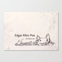 edgar allen poe Canvas Prints featuring Edgar Allen Poe by Andreas Derebucha
