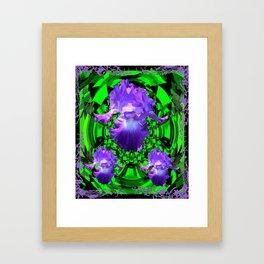 Delicate Lilac-Black-Green Purple Iris Garden Design Framed Art Print