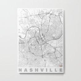 Nashville Map Line Metal Print