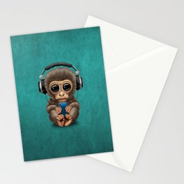 Cute Baby Monkey With Cell Phone Wearing Headphones Blue Stationery Cards
