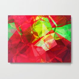 Mixed color Poinsettias 1 Abstract Polygons 1 Metal Print