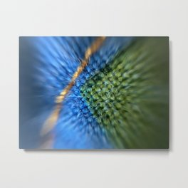 Microscopic photography Stiching on printed cotton quilt Metal Print