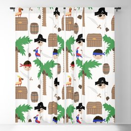 Seamless pirate colorful kids retro background pattern Blackout Curtain